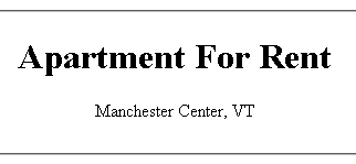 Manchester Second Floor  Apartment for Rent | Manchester Center, VT