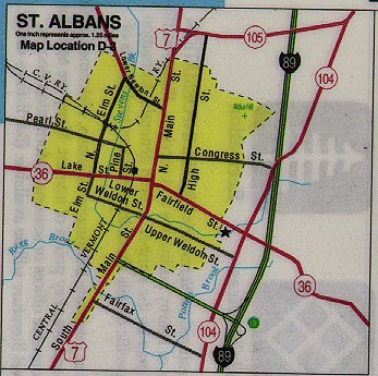 albans am zell of st map vermont see