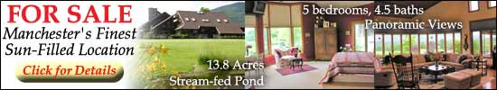 Large 18-room house with plenty of windows, for sale in Southern Vermont. Scenic views of Vermont's Green Mountains, 1-acre stream-fed pond, and more!